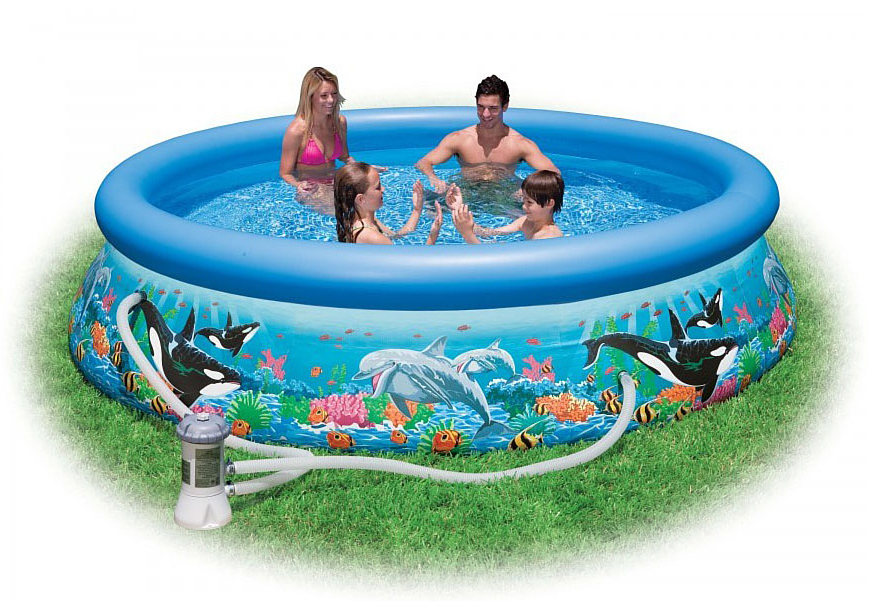 Надувной бассейн Intex Easy Set. Риф Океана, с фильтр-насосом 220 В, 366 х 76 см. с54906с54906Надувной бассейн Intex Easy Set. Риф Океана с фильтр-насосом Intex (Интекс) выполнен в ярко-красочном дизайне и декорирован морскими обитателями - касатками и дельфинами. Детям и взрослым будет очень приятно поплавать в таком бассейне.