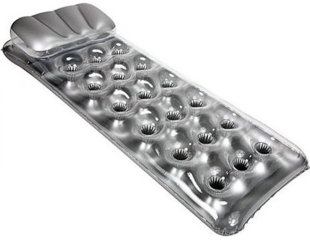 Надувной матрас-бар Intex Сантаннер, 188 х 71 см. с5889467742Надувной матрас Intex Сантаннер с 18 лунками - это замечательный аксессуар для бассейна, при помощи которого можно расслабиться и позагорать на солнце, плавно покачиваясь на воде. У матраса предусмотрен специальный надувной подголовник, делающий пребывание на плоту еще более комфортным. Удобные лунки можно использовать как подстаканники.Надувной матрас от торговой компании Intex изготовлен из прочного многослойного винила, он сохраняет форму и не проседает, надежно удерживая человека на поверхности воды.Размер матраса: 188 х 71 см.