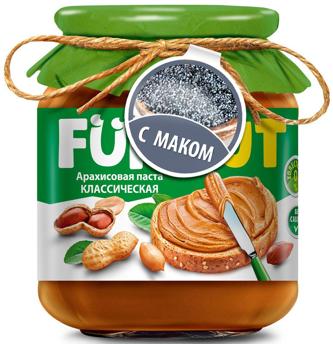 Funnat Арахисовая паста классическая с добавлением мака, 340 г0120710Арахисовая паста Funnat давно и широко распространена в США и вВеликобритании. Эта ореховая паста приготовлена из поджаренного арахиса, нежной текстуры. Благодаря содержанию легкоусвояемых белков и жиров арахисовая паста может конкурировать по питательности с продуктами животного происхождения. Она сытная и полезная, и в то же время препятствует перееданию.