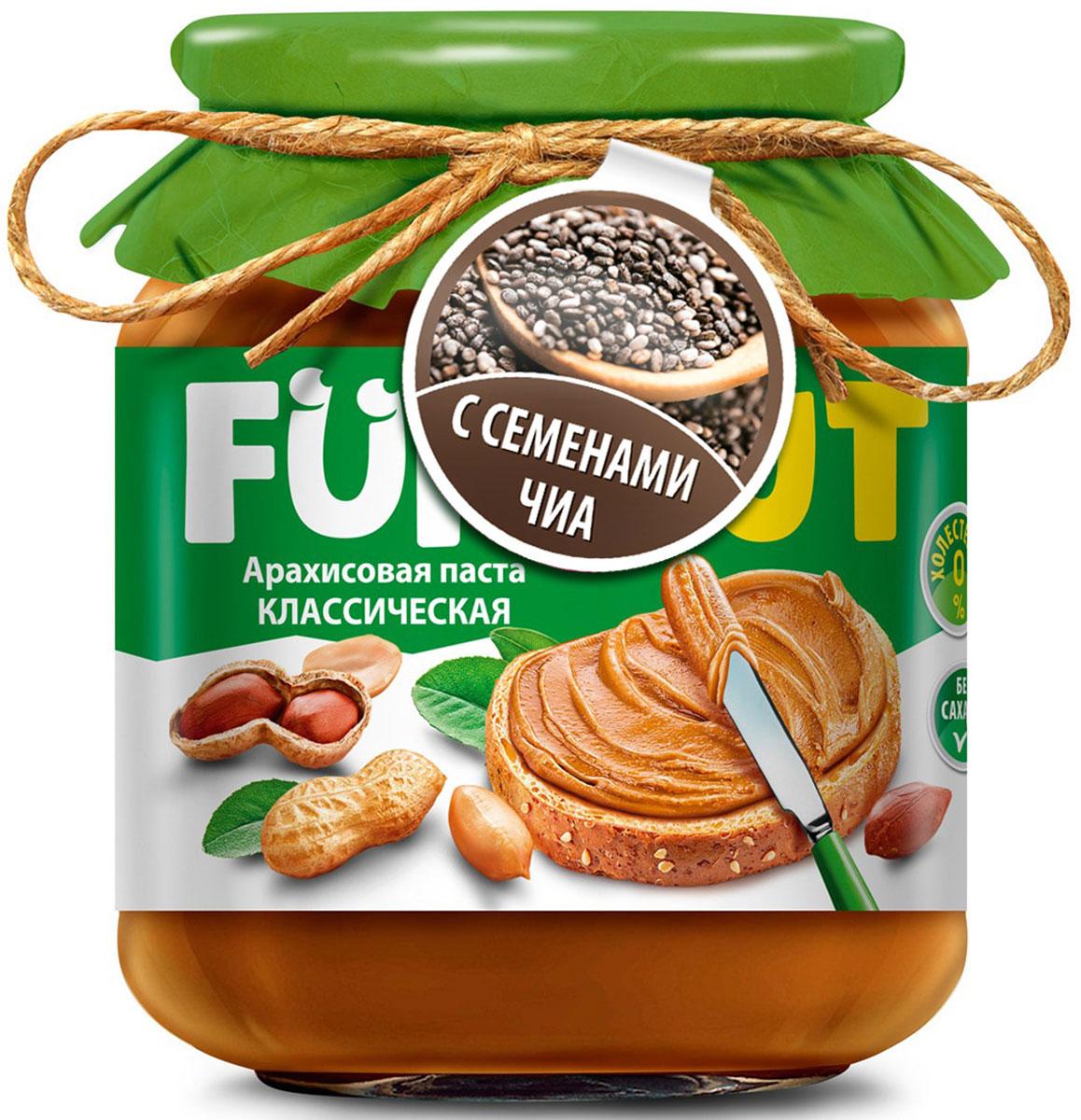 Funnat Арахисовая паста классическая с добавлением чиа, 340 г4640000272265Арахисовая паста Funnat давно и широко распространена в США и вВеликобритании. Эта ореховая паста приготовлена из поджаренного арахиса, нежной текстуры. Благодаря содержанию легкоусвояемых белков и жиров арахисовая паста может конкурировать по питательности с продуктами животного происхождения. Она сытная и полезная, и в то же время препятствует перееданию.