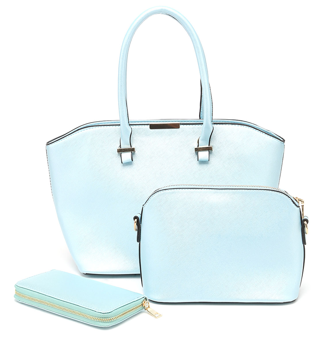 Комплект женский DDA, 3 предмета, цвет: голубой. WB-1008ML597BUL/DКомплект DDA состоит из большой сумки, маленькой сумочки-клатча и кошелька. Изделия изготовлены из качественной экокожи. Большая сумка закрывается на застежку-молнию. Сумка содержит одно отделение, в котором расположены два открытых накладных кармана и один врезной на молнии. С внешней задней стороны сумки - врезной карман на застежке-молнии. Модель дополнена двумя прочными ручками на металлической фурнитуре. Маленькая сумка-клатч закрывается на застежку-молнию. Сумка содержит одно отделение, в котором расположены два открытых накладных кармана и один врезной карман на молнии. В комплекте два съемных ремня с застежками-карабинами. Короткий ремень выполнен из экокожи и прочных металлических цепей. Длинный ремень из экокожи регулируется по длине. Удобный женский кошелек застегивается на металлическую молнию. Кошелек разделен карманом-средником на молнии и содержит восемь отделений для карточек или визиток.