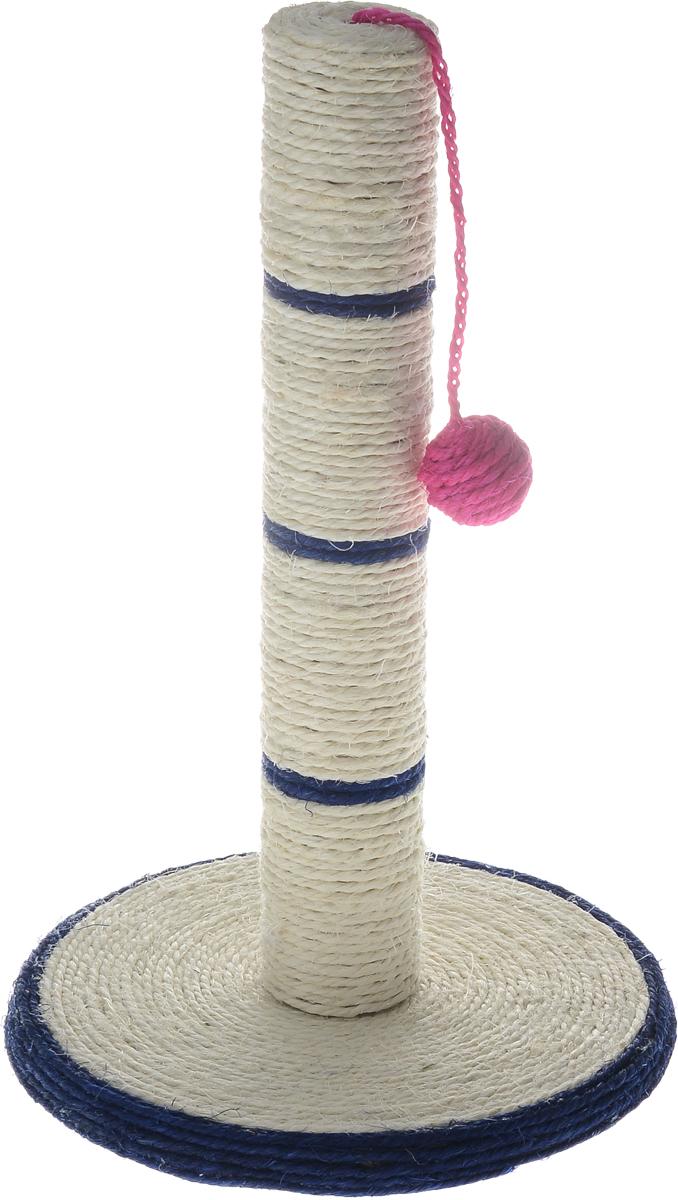 Когтеточка Triol, на подставке, цвет: темно-синий, молочный, 46 х 30 см0120710Когтеточка Triol выполнена из сизаля, пластика и МДФ в виде столбика на подставке. Сверху к когтеточке крепится шарик на веревочке.Всем кошкам необходимо стачивать когти. Когтеточка - один из самых необходимых аксессуаров для кошки. Когтеточка должна располагаться на такой высоте, чтобы кошка могла встать на задние лапы и вытянуть наверх передние. Для приучения к когтеточке можно натереть ее сухой валерьянкой или кошачьей мятой. Когтеточка Triol поможет вашему любимцу стачивать когти и при этом не портить вашу мебель. Высота когтеточки: 46 см. Диаметр основания: 30 см.