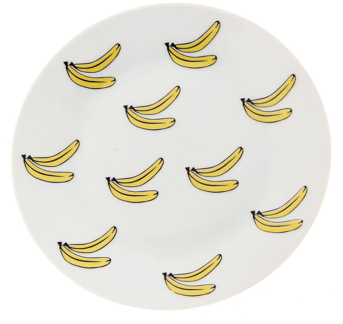 Тарелка мелкая Сотвори чудо Бананы, диаметр 20 см54 009312Хотите обновить интерьер кухни или гостиной? Устраиваете необычную фотосессию или тематический праздник? А может, просто ищете подарок для близкого человека? Посуда Сотвори Чудо — правильный выбор в любой ситуации. Тарелка Сотвори Чудо, изготовленная из изящного фаянса нежного сливочного цвета, оформлена оригинальным рисунком со стойкой краской. Пригодна для посудомоечной машины.