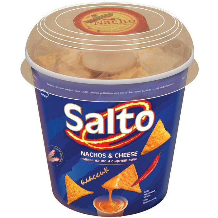 Salto Nachos Классик чипсы кукурузные натуральные, 220 г0120710Набор, состоящий из натуральных кукурузных чипсов (NASHOS) + сырный соус + влажная салфетка для рук.