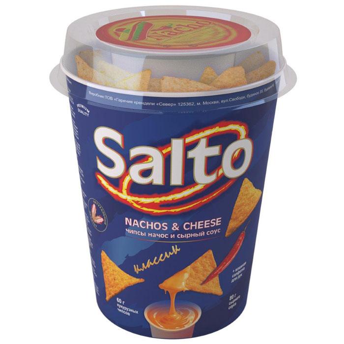 Salto Nachos Классические чипсы кукурузные натуральные, 60 г0120710Набор, состоящий из натуральных кукурузных чипсов (NASHOS) + сырный соус + влажная салфетка для рук.