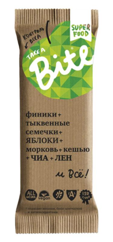 Take A Bite Морковь-Кешью Контроль веса батончик фруктово-ореховый, 45 г0120710Контролируешь свой вес? Конечно, важно, что ты ешь, но иногда можно получить два в одном — полезное и вкусное лакомство. Ныряй в море удовольствия из ЯБЛОК, моркови и фисташек.Будь легче!
