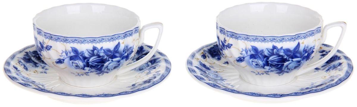 Сервиз чайный Доляна Дымка, 4 предметаVT-1520(SR)Сервиз чайный Доляна Дымка состоит из двух чашек и двух блюдец. Предметы выполнены из особо прочного фарфора с добавлением костного порошка и покрыты глазурью. Посуда проходит несколько этапов обжига. Изделия украшены изысканным рисунком в сине-голубых оттенках, который сохраняет насыщенность цвета долгое время. Посуда отличается прозрачностью и белизной, она неприхотлива и не требует особых условий хранения. Оригинальный сервиз привнесет в дом атмосферу уюта и гостеприимства. Элегантная упаковка сделает набор прекрасным подарком близкому человеку. Рекомендуется мыть вручную. Не рекомендуется использовать посуду для разогрева пищи в СВЧ-печах.