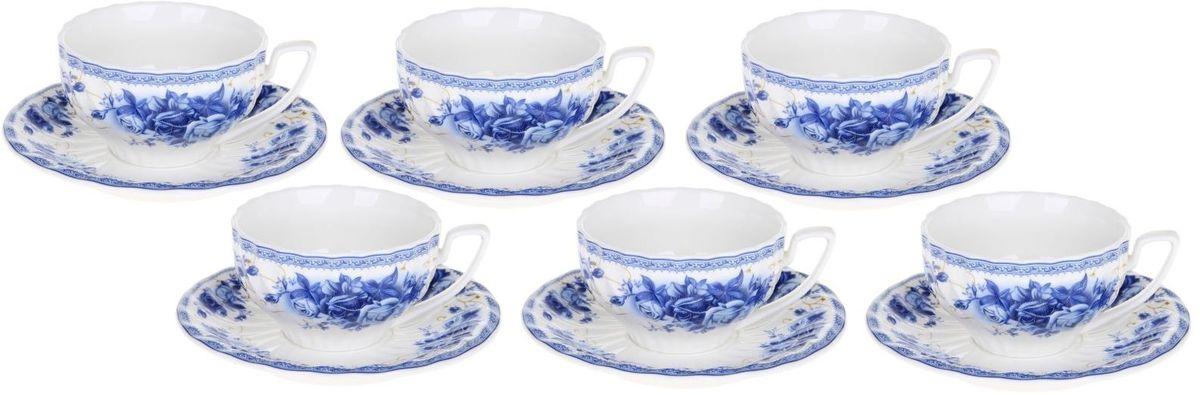 Сервиз чайный Доляна Дымка, 12 предметов115510Сервиз чайный Доляна Дымка состоит из 6 чашек и 6 блюдец Предметы выполнены из особо прочного фарфора с добавлением костного порошка. Посуда проходит несколько этапов обжига. Нежный рисунок сохраняет насыщенность цвета долгое время. Элегантная упаковка делает набор прекрасным подарком близкому человеку. Оригинальный сервиз привнесет в дом атмосферу необыкновенного уюта и гостеприимства.Правила ухода.Мойте изделия вручную.Насухо протирайте.Не ставьте в СВЧ-печь.