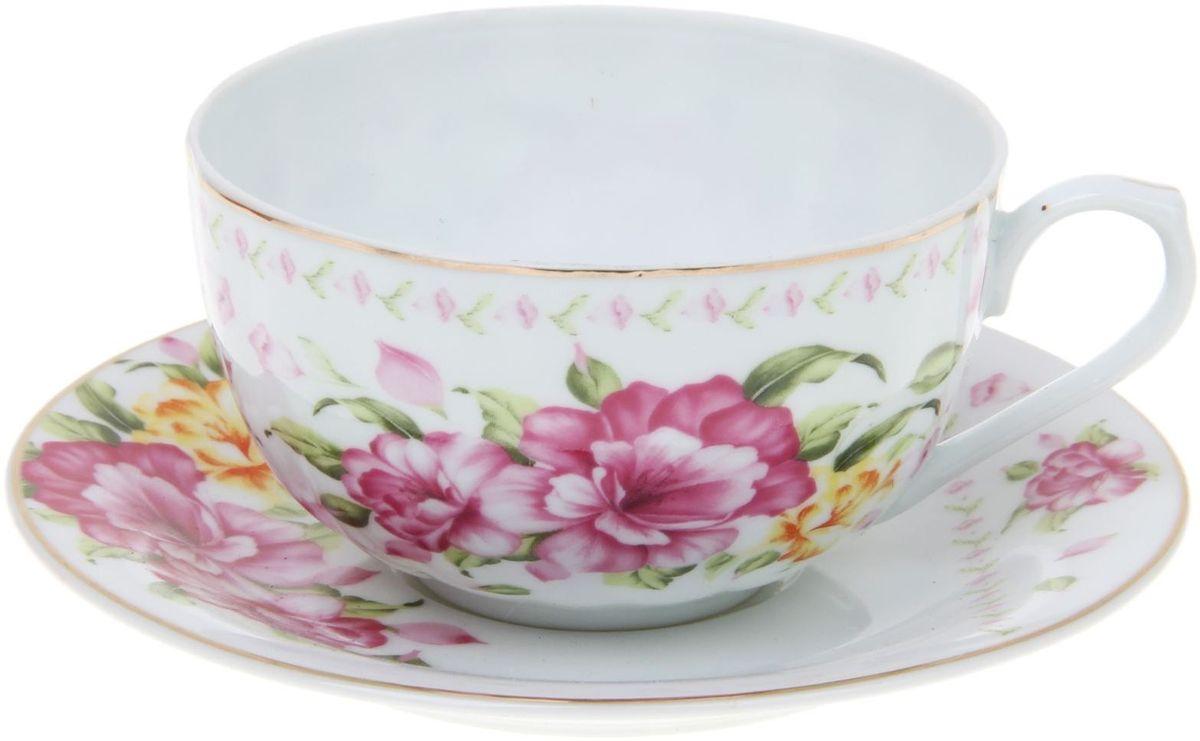 Набор чайный Доляна Летний ветер, 2 предмета115510Какую посуду выбрать для чаепития? Конечно, традиционный напиток по необходимости можно пить и из помятой алюминиевой кружки. Но все-таки большинство хозяек стараются приобрести изящные и оригинальные модели для эстетического наслаждения неповторимым вкусом и тонким ароматом хорошего чая.Кухонная керамика сочетает в себе бытовую практичность и декоративную утонченность. Нарядный комплект обязательных для чаепития атрибутов изготовлен на родине древнего напитка и привнесет в каждую трапезу особую энергетику.