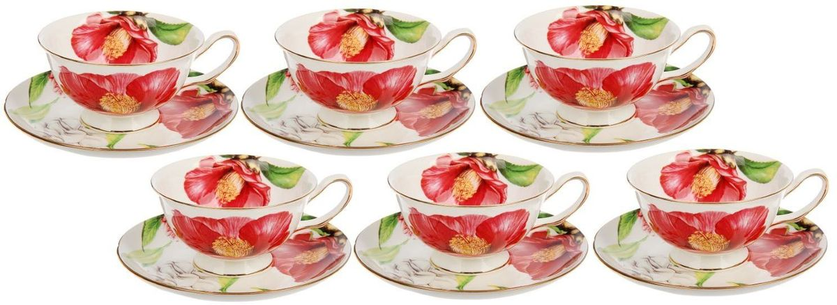 Сервиз чайный Доляна Китайская роза, 12 предметовVT-1520(SR)Оригинальный сервиз привносит в дом атмосферу необыкновенного уюта и гостеприимства. Предметы выполнены из особо прочного фарфора с добавлением костного порошка. Посуда проходит несколько этапов обжига. Нежный рисунок сохраняет насыщенность цвета долгое время. Золотистый кант — дань уважения классическим традициям. Элегантная упаковка делает набор прекрасным подарком близкому человеку.Правила уходаМойте изделия вручную.Насухо протирайте.Не ставьте в СВЧ-печь.Пусть каждое чаепитие превратится в праздник!