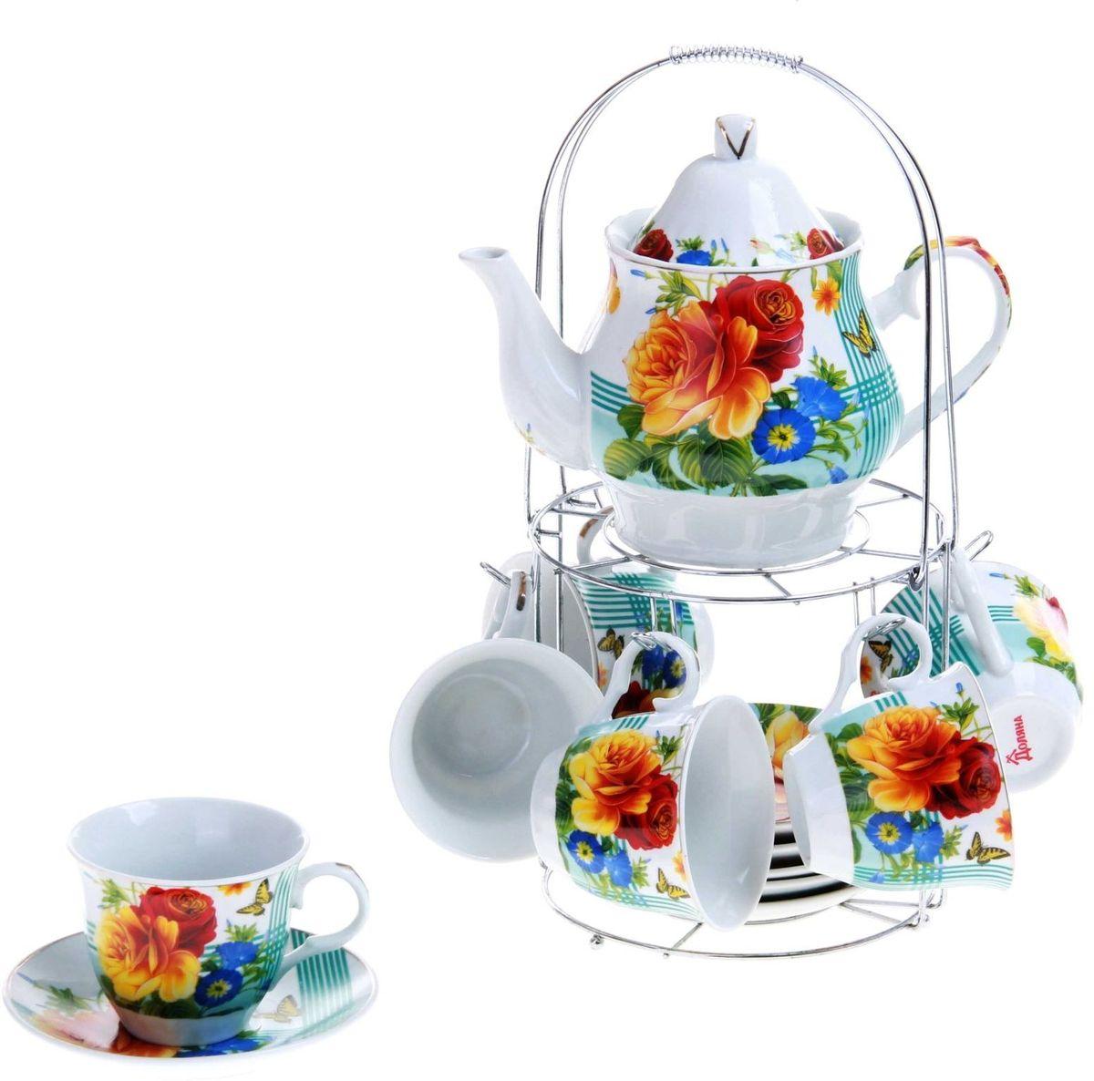 Набор чайный Доляна Мари, 13 предметов115510Какую посуду выбрать для чаепития? Конечно, традиционный напиток по необходимости можно пить и из помятой алюминиевой кружки. Но все-таки большинство хозяек стараются приобрести изящные и оригинальные модели для эстетического наслаждения неповторимым вкусом и тонким ароматом хорошего чая.Кухонная керамика сочетает в себе бытовую практичность и декоративную утонченность. Нарядный комплект обязательных для чаепития атрибутов изготовлен на родине древнего напитка и привнесет в каждую трапезу особую энергетику.