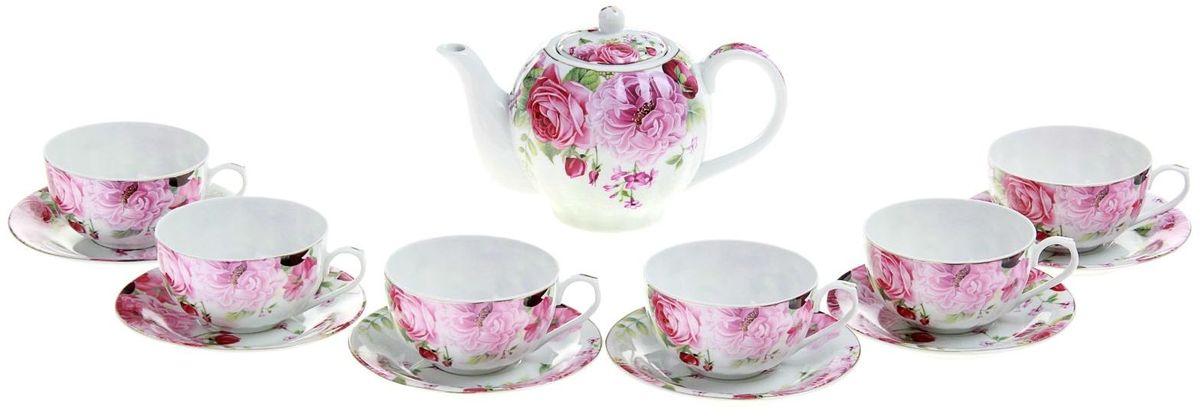 Набор чайный Доляна Вдохновение, 13 предметовVT-1520(SR)Какую посуду выбрать для чаепития? Конечно, традиционный напиток по необходимости можно пить и из помятой алюминиевой кружки. Но все-таки большинство хозяек стараются приобрести изящные и оригинальные модели для эстетического наслаждения неповторимым вкусом и тонким ароматом хорошего чая.Кухонная керамика сочетает в себе бытовую практичность и декоративную утонченность. Сервиз чайный Вдохновение, 13 предметов: 6 чашек 250 мл, 6 блюдец, чайник 1 л отличается высокой прочностью и обаятельным дизайном. Нарядный комплект обязательных для чаепития атрибутов изготовлен на родине древнего напитка и привнесет в каждую трапезу особую энергетику.