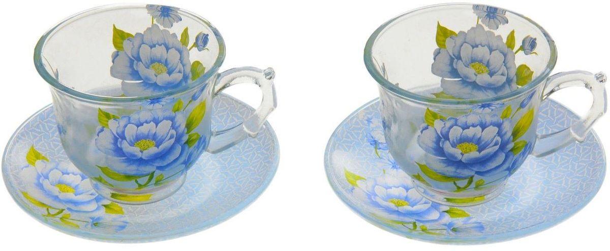 Набор чайный Доляна Голубая фантазия, 4 предмета115610Чайный набор Доляна Голубая фантазия состоит из 2 чашек (220 мл) и 2 блюдец. Изделия выполнены из прочного стекла.Голубой цвет и прозрачное стекло создадут ощущение воздушности и оптимизма. С такой посудой любое мини-застолье превращается в праздник.Кроме того, изящная посуда обладает рядом практических достоинств: термостойкостью, экологичностью и прочностью. Именно этим объясняются преимущества предметов набора:- возможность обработки в СВЧ-печи,- пригодность к мойке в посудомоечной машине,- -экологическая безопасность материала.Не рекомендуется:- помещать посуду на открытый огонь и в морозильную камеру,- допускать падение посуды с большой высоты.