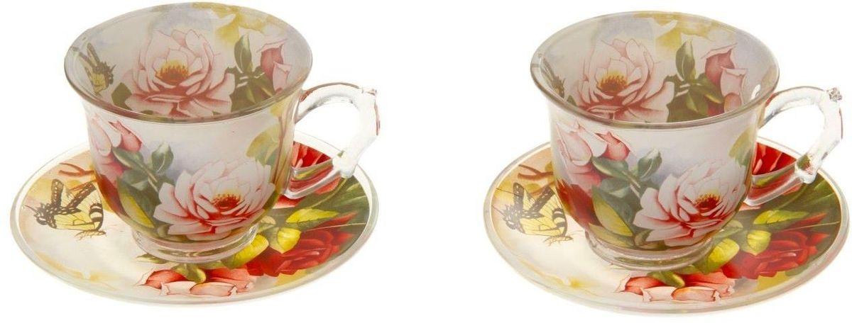 Набор чайный Доляна Июль, 4 предметаVT-1520(SR)Чайный набор Доляна Июль состоит из 2 чашек (220 мл) и 2 блюдец. Изделия выполнены из прочного стекла и украшены ярким цветочным принтом.С такой посудой любое мини-застолье превращается в праздник.Кроме того, изящная посуда обладает рядом практических достоинств: термостойкостью, экологичностью и прочностью. Именно этим объясняются преимущества предметов набора:- возможность обработки в СВЧ-печи,- пригодность к мойке в посудомоечной машине,- -экологическая безопасность материала.Не рекомендуется:- помещать посуду на открытый огонь и в морозильную камеру,- допускать падение посуды с большой высоты.