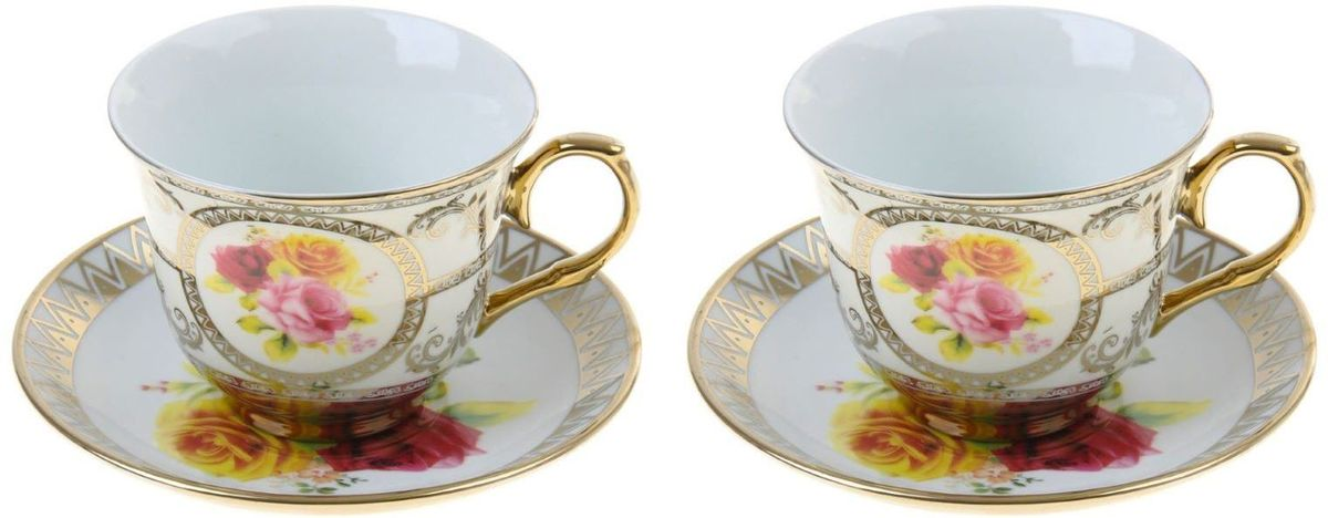 Сервиз чайный Доляна Королевский сад, 4 предметаVT-1520(SR)Сервиз чайный Доляна Королевский сад состоит из двух чашек и двух блюдец. Предметы выполнены из особо прочного фарфора с добавлением костного порошка и покрыты глазурью. Посуда проходит несколько этапов обжига. Изделия украшены изысканной росписью и дополнены золотистой эмалью. Посуда отличается прозрачностью и белизной, она неприхотлива и не требует особых условий хранения. Оригинальный сервиз привнесет в дом атмосферу уюта и гостеприимства. Элегантная упаковка сделает набор прекрасным подарком близкому человеку. Рекомендуется мыть вручную. Не рекомендуется использовать посуду для разогрева пищи в СВЧ-печах.