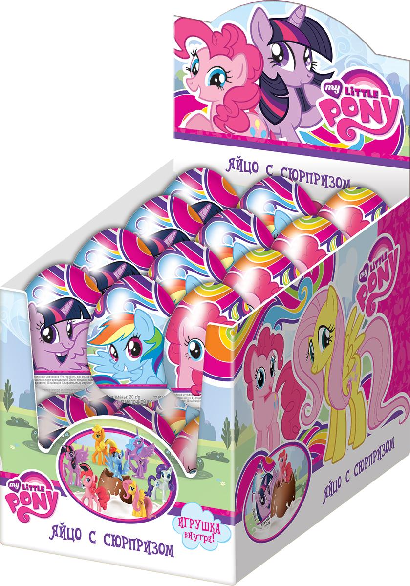 My Little Pony молочный шоколад с сюрпризом, 24 шт по 20 гУТ18015Пони - одни из самых популярных персонажей у девочек! Молочный шоколад. Коллекция из 7 любимых поняшек!