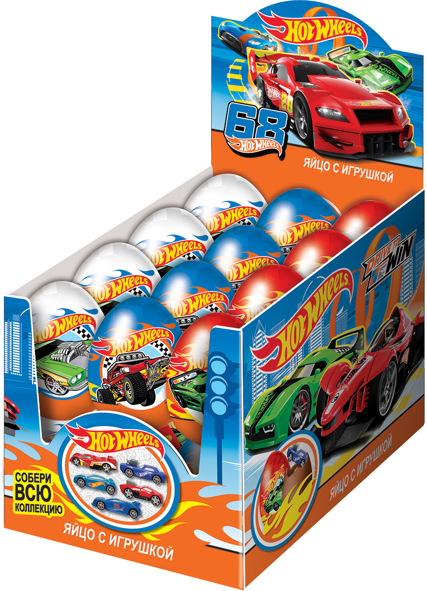 Hot Wheels молочный шоколад с сюрпризом, 24 шт по 20 г0120710Популярный тренд среди мальчишек всех возрастов! Натуральный молочный шоколад. Уменьшенные копии реально существующих автомобилей! Коллекция из 5 авто! Высокое качество исполнения!