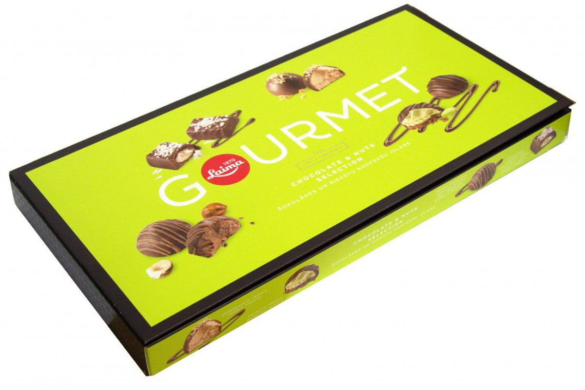 Laima Gourmet ассорти конфет из темного шоколада с ореховыми начинками, 230 г0120710Трюфель с начинкой джиандуя, кокосовый крем, арахисовый трюфель, фисташковый трюфель.