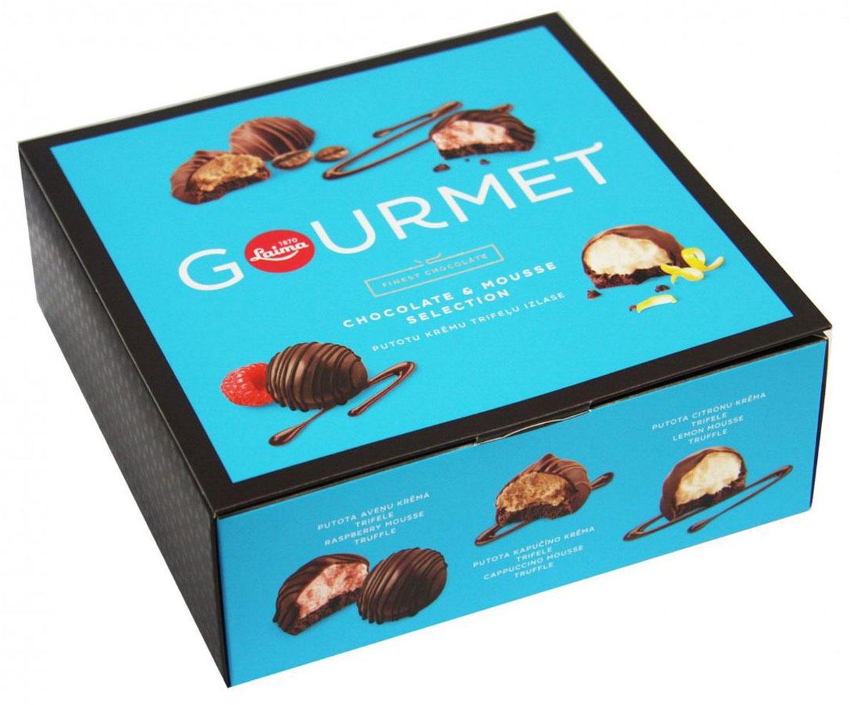 Laima Gourmet ассорти конфет с начинками из муссов, 210 гP111940310Созданный во Франции в 1895 году рецепт конфет Трюфель был заимствован и латвийскими мастерами шоколадного производства. И вот уже на протяжении многих десятилетий Laima изготавливает из высококачественной шоколадной массы это классическое кондитерское изделие с тонким, пикантным вкусом.Уважаемые клиенты! Обращаем ваше внимание, что полный перечень состава продукта представлен на дополнительном изображении.
