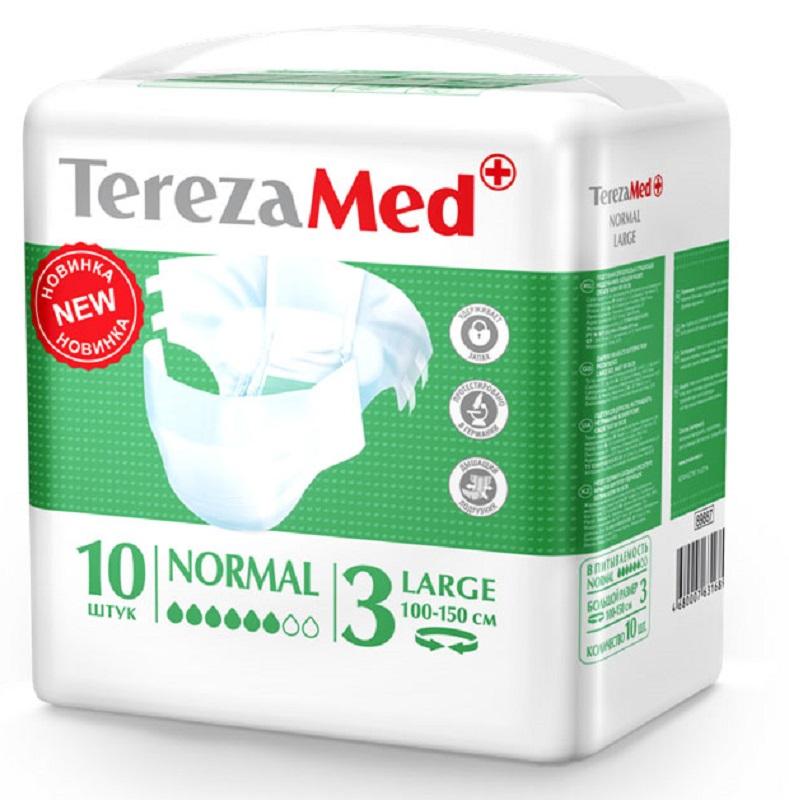 TerezaMed Подгузники для взрослых Normal Large (3) 10 шт16826Подгузники TerezaMed Normal Large предназначены для больных недержанием средней тяжести. Подгузник выполнен из мягкого дышащего материала, который пропускает пары влаги. Это позволяет коже пациента под подгузником дышать, а так же снижает риск появления опрелостей. Ядро подгузника состоит из натурального материала - целлюлозы, в которую добавлен суперабсорбент, впитывающий жидкость в больших количествах и обладающий свойством подавлять развитие неприятного запаха. Зеленый распределительный слой эффективно впитывает жидкость и распределяет ее внутри подгузника, тем самым снижая риск появления протечек. Крепление подгузника обеспечивается надежными липучками типа замочек, что позволяет многократно их приклеивать и отклеивать. Боковые бортики вокруг ног сделаны из гидрофобного материала и надежно запирают жидкость внутри. Размер талии пациента: большой, 100-150см. Количество в упаковке: 10 штук. Впитываемость: 2400 мл ±5%