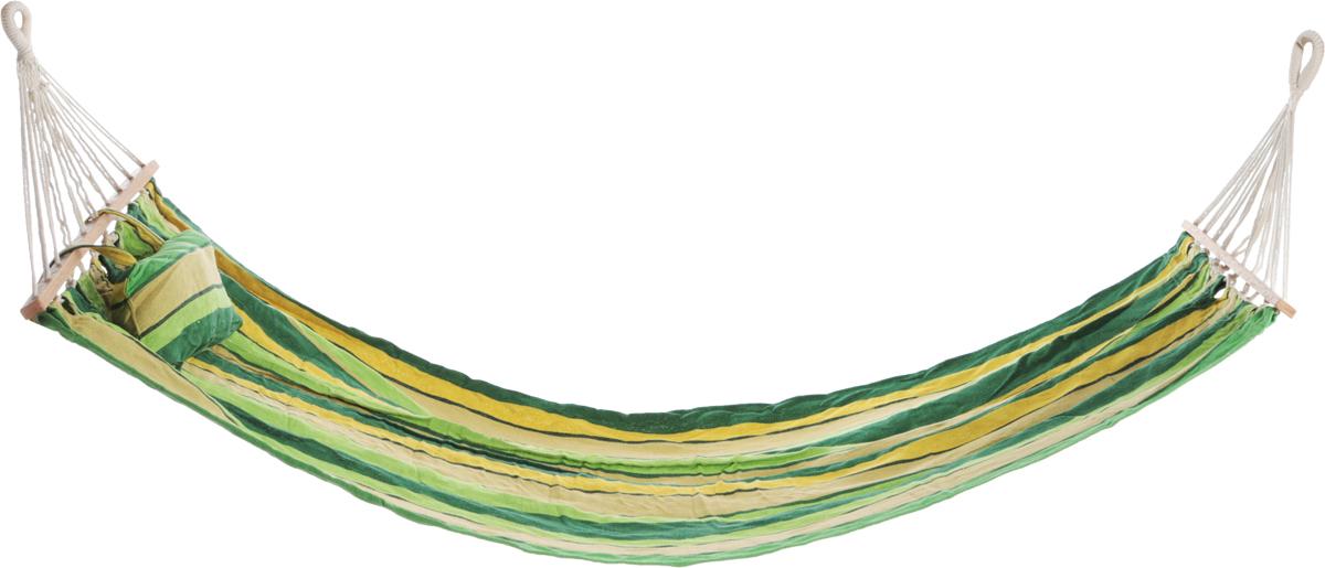 Гамак Boyscout Комфорт с деревянными направляющими, цвет: зеленый, желтый, 200 х 90 смK100Легкий, прочный и компактный гамак Boyscout Комфорт внесет дополнительный комфорт в ваш отдых на даче, в походе или на пикнике. Изделие выполнено из хлопка. Отверстия для крепления обшиты, что придает дополнительную прочность. Деревянные рейки поддерживают форму гамака и не дают ему сворачиваться под весом человека.