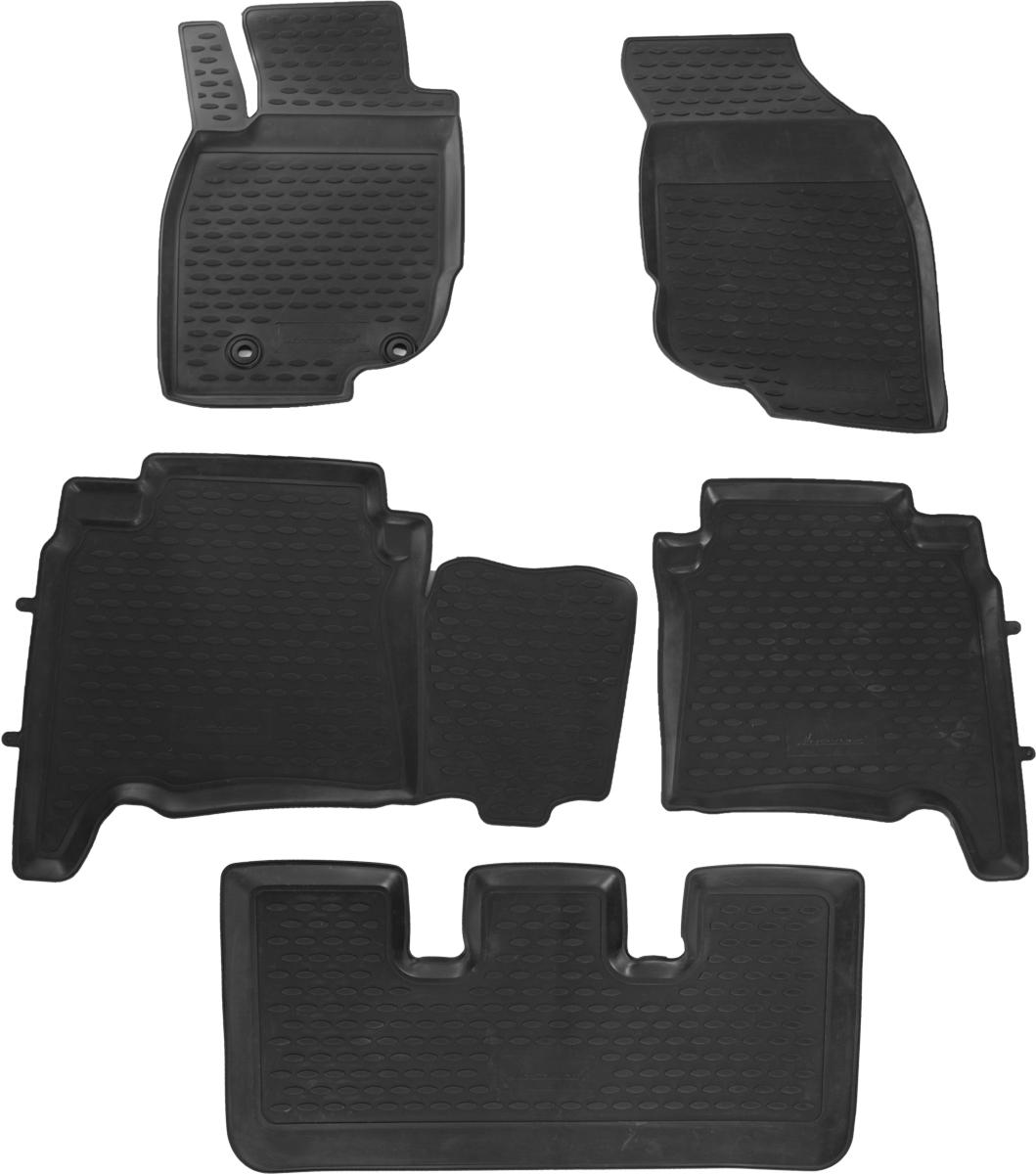 Набор автомобильных ковриков Novline-Autofamily для Toyota Fortuner 01/2013-, левый руль, в салон, 5 штCARSZK00009Набор автомобильных ковриков Novline-Autofamily, изготовленный из полиуретана, состоит из 5 ковриков, которые учитывают все особенности каждой модели автомобиля и полностью повторяют контуры пола. Полиуретановые автомобильные коврики для салона произведены из высококачественного материала, который держит форму, прочный и не пачкает обувь. Коврики в салон не только улучшат внешний вид салона вашего автомобиля, но и надежно уберегут его от пыли, грязи и сырости, а значит, защитят кузов от коррозии. Полиуретановые коврики для автомобиля гладкие, приятные и не пропускают влагу. Ковры для автомобилей надежно крепятся на полу и не скользят, что очень важно во время движения. Чистятся коврики очень просто: как при помощи автомобильного пылесоса, так и различными моющими средствами. Набор подходит для Toyota Fortuner с января 2013 года выпуска.