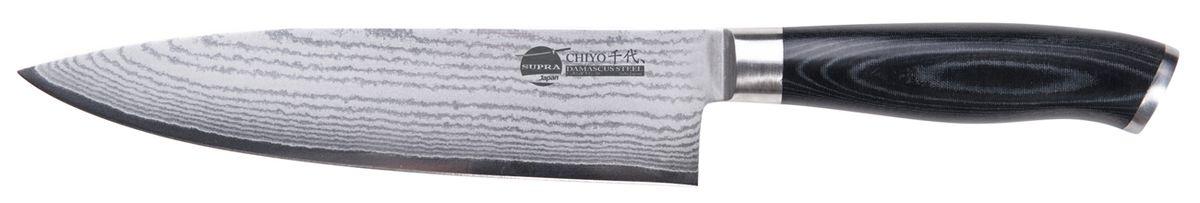 """Нож кухонный Supra Chiyo, длина лезвия 20,3 см54 009312Нож кухонный японский CHEF 8"""" из японской нержавеющей стали с обкладками из дамаска (67 слоев). Длина лезвия 203 мм. Материал рукояти: микарта. Заточка: двусторонняя"""