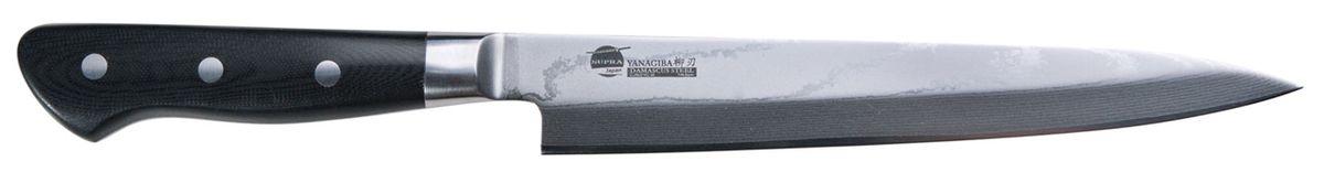 """Нож кухонный Supra Yanagiba, длина лезвия 21 см54 009312Нож кухонный японский для суши YANAGIBA 8.3"""" из японской нержавеющей стали с обкладками из дамаска. Длина лезвия 210 мм. Материал рукояти: Carbon Fibre на основе углеволокна. Нож YANAGIBA используется для суши, нарезки филе рыбы, мяса и других продуктов. Заточка: односторонняя"""