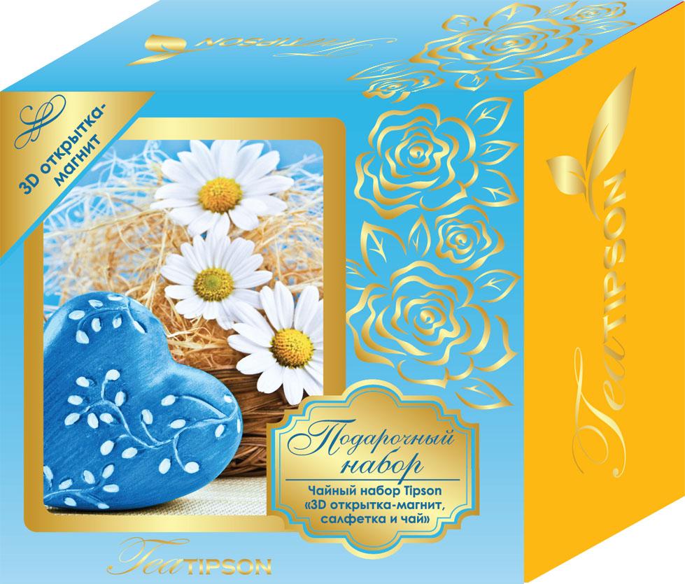 Tipson Синий подарочный набор черный чай Ceylon №1 в пакетиках с 3D открыткой-магнитом и салфеткой, 25 шт0120710Подарочный набор Tipson - это один из самых полезных и приятных сувениров, которому будет рад любой получатель. Такой оригинальный сет отличается не только практичностью, но и великолепными эстетическими составляющими, поэтому может стать презентабельным подарком по любому поводу, будь то 8 Марта, День всех влюбленных, юбилей, день рождения, новоселье и т. д. Чайный набор Синий с 3D открыткой-магнитом и салфеткой. Входящий в набор качественный черный чай Tipson Ceylon №1 подарит насыщенный вкус и аромат свежести цейлонских чайных плантаций.