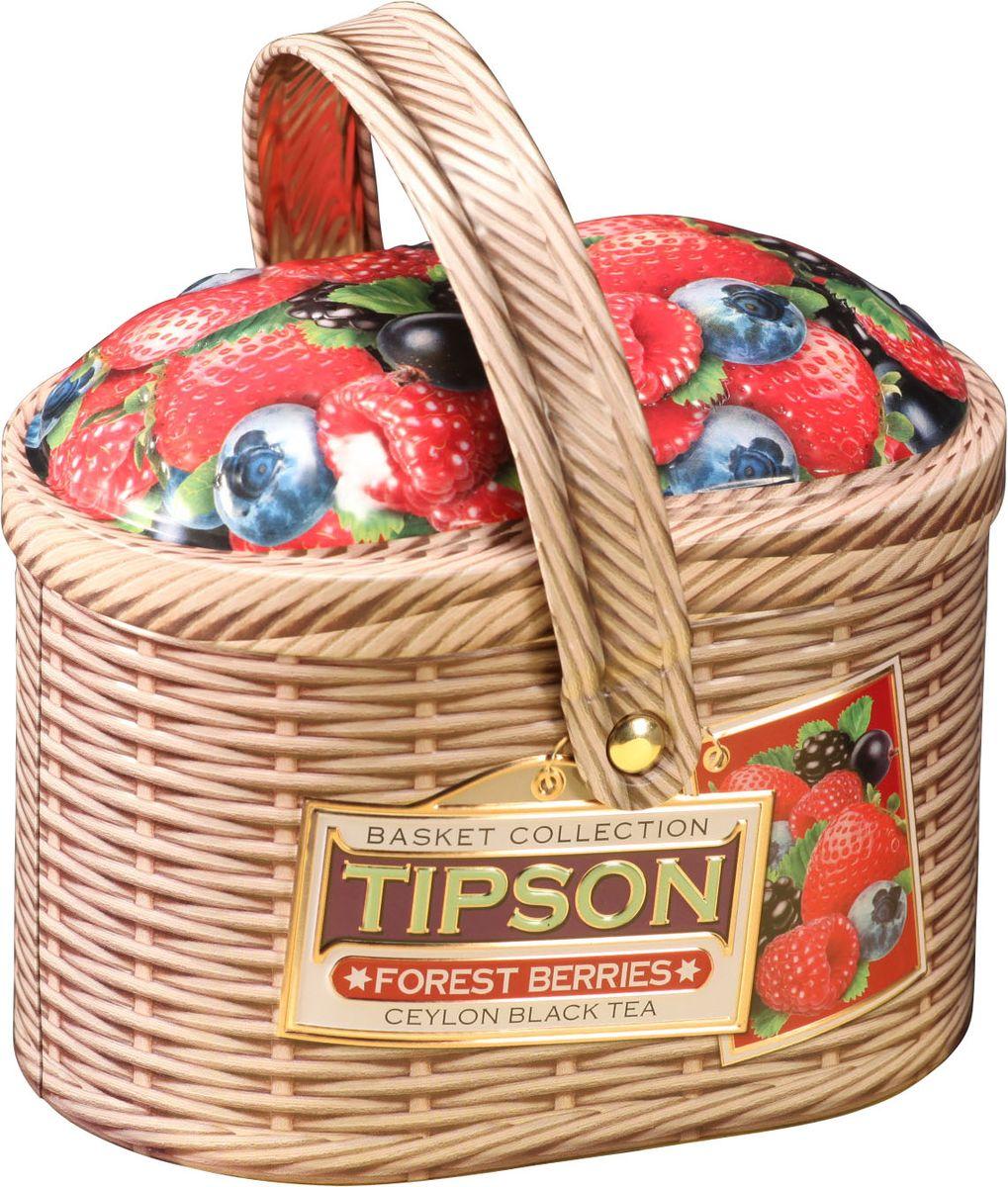 Tipson Basket-Forest Berries чай черный листовой с кусочками клубники, яблока и вишни, 80 г0120710Чай чёрный цейлонский байховый листовой с кусочками клубники и яблока, лепестками василька и ароматами вишни и ванили.