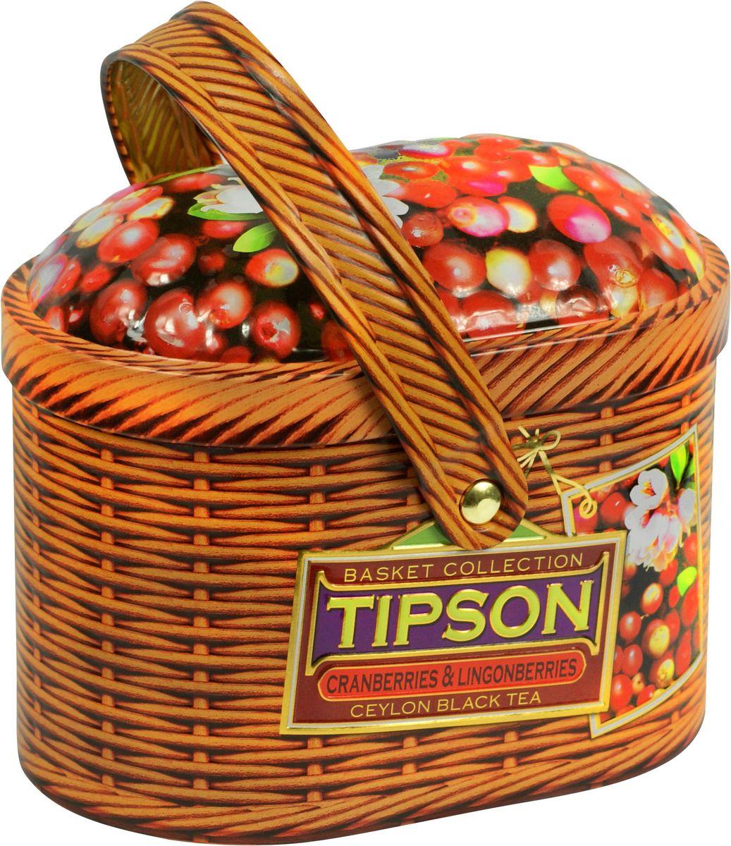 Tipson Basket-Cranberries and Lingonberries чай черный листовой с ягодами клюквы и китайской березы, 80 г80129-00Чай чёрный цейлонский байховый листовой с ягодами клюквы и китайской березы и ароматами клюквы, брусники и ванили.