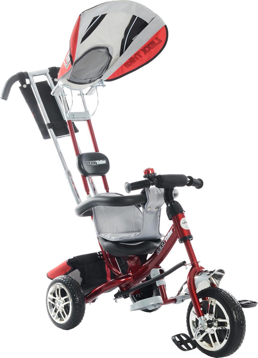 """Многофункциональный детский велосипед-каталка GT """"GT5544 Lexx Trike"""" предназначен для детей, которые только начали ходить. Пока малыш еще не умеет сам крутить педали, вы сможете катить его с помощью ручки, а его ножки будут отдыхать на съемных рельефных подножках. А когда он подрастет, можно будет снять ручку, подножки, спинку, обод и капюшон. Удобное эргономичное сиденье из черного пластика дополнено мягкой тканевой накладкой. Оно обеспечит комфорт во время движения. Положение сиденья регулируется, позволяя увеличивать расстояние до педали по мере того, как растет ребенок.Велосипед дополнен багажной тканевой корзиной, которая позволит взять на прогулку необходимые вещи. Особенности:тормоза на задних колесах;спинка откидывается, угол наклона регулируется 3 положениями;большой тент-капюшон как зонт от солнца, дождя и ветра, дополненный смотровым окошком; глубина капюшона регулируется;багажник для вещей, рюкзачок с клапаном на липучке, который крепится на ручку-толкатель;стальная облегченная рама;колеса из мягкого полимера с металлическим основанием со стильным дизайном;металлическая хромированная ручка-толкатель регулируется по высоте;переднее колесо с фиксацией, управляется родительской ручкой;родительская ручка имеет мягкие антискользящие накладки;рельефные пластиковые антискользящие педали; съемная подножка с ребристыми накладками, которая убирается 2 сложениями;мягкая поролоновая защита на руле;звонкий хромированный звонок в цвет рамы;"""