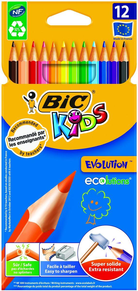 Bic Карандаши цветные Evolution 12 цветов72523WDНабор из 12 суперпрочных ярких цветных карандашей, не содержащих древесины. Эти карандаши - идеальный вариант для детей, потому что они обладают очень высоким уровнем прочности, в том числе ударопрочным грифелем. Если малышу все же удастся сломать карандаш - на месте излома не образуется острых краев, это снижает вероятность травмирования. Классический шестигранный корпус. Легко затачиваются.