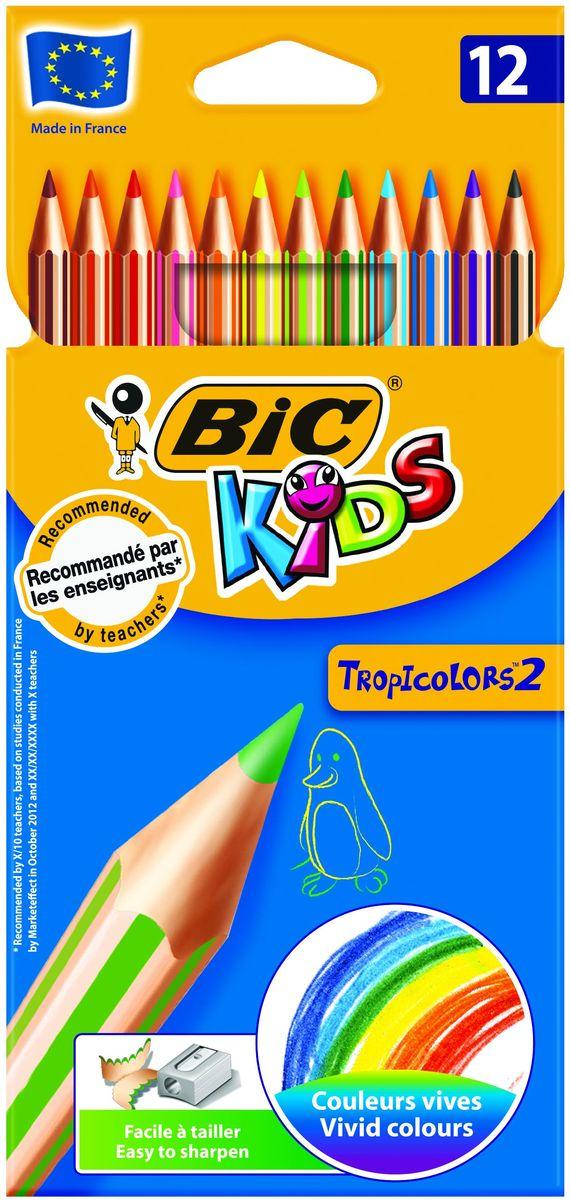 Bic Набор цветных карандашей Tropicolors 12 цветов72523WDНабор цветных карандашей Bic Tropicolors, не содержащих древесины, обязательно понравится вашему юному художнику. Карандаши очень легко затачиваются и дают очень яркие живые цвета. Эти карандаши - идеальный вариант для детей, потому что они обладают очень высоким уровнем прочности, в том числе ударопрочным грифелем. Если малышу все же удастся сломать карандаш - на месте излома не образуется острых краев, это снижает вероятность травмирования.Набор цветных карандашей Bic Tropicolors – это лучший выбор для детского творчества.