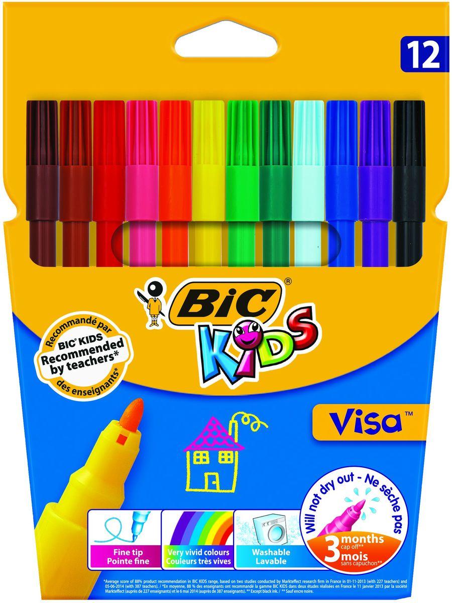 Bic Фломастеры Visa 12 цветовB888695Набор фломастеров Bic Visa состоит из 12 цветов.Фломастеры на водной основе (без спирта) имеют тонкую линию письма и яркие цвета. Идеальны как для рисования, так и для письма, прекрасно прорисовывают мелкие детали. Пишущий узел диаметром 2 мм позволяет рисовать тонкими линиями толщиной 0,9 мм. Фиксированный пишущий узел не даст стержню провалиться даже при сильном нажатии.Удивительная устойчивость к высыханию - не высыхают без колпачка до 3 месяцев! Чернила на водной основе легко смываются с большинства материалов, кожи и отстирываются с одежды. Идеальны для ежедневного использования детьми от 5 лет.