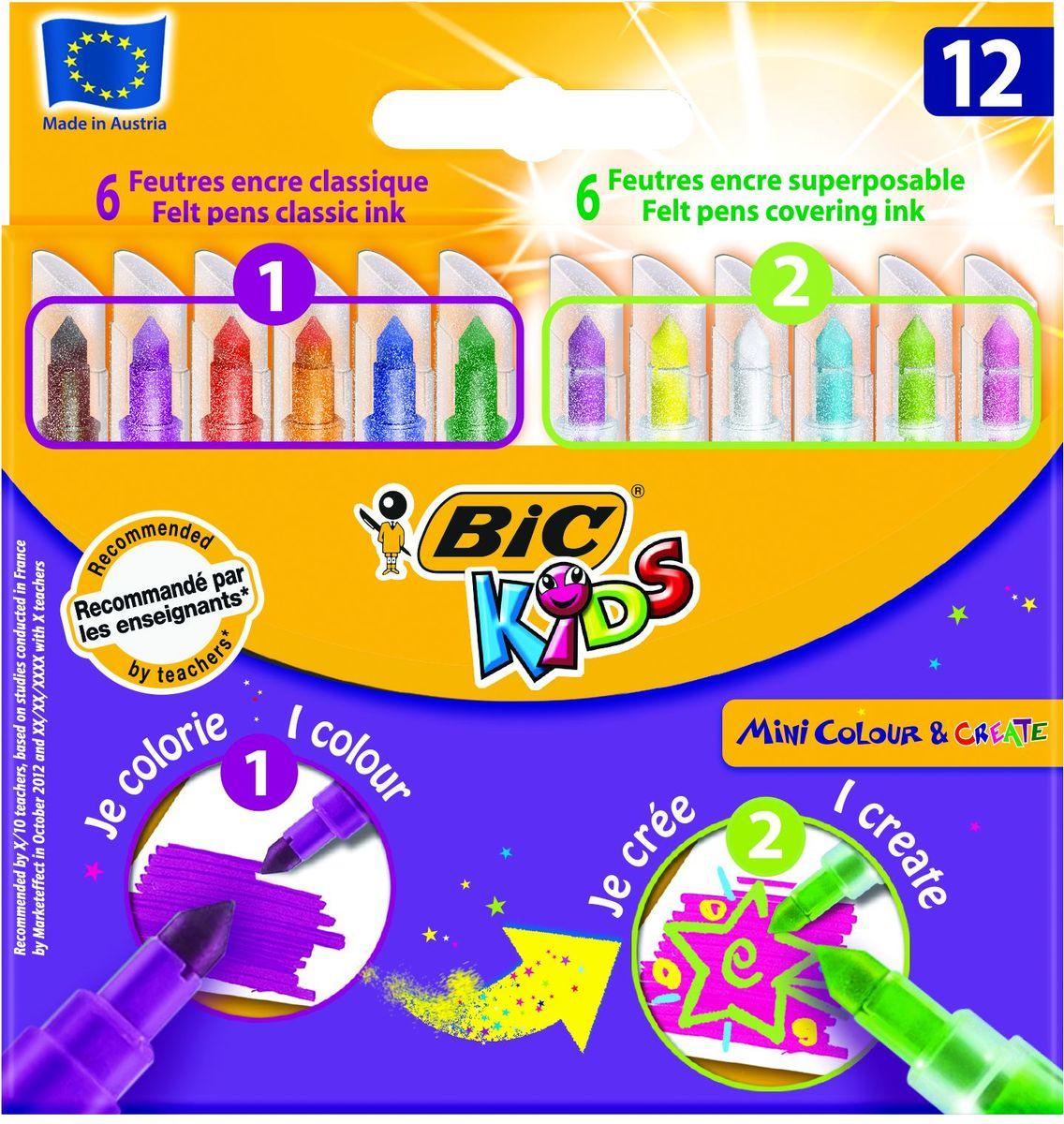 Bic Фломастеры Mini 12 цветов72523WDНабор Bic Mini включает 6 обычных и 6 тонирующих фломастеров, с помощью которых можно создавать специальные эффекты. Чернила на водной основе легко смываются с кожи, большинства материалов и отстирываются с одежды. Цветные фломастеры – это просто находка для маленьких любителей рисовать! Фломастеры оборудованы вентилируемым колпачком (в случае, если ребенок проглотит его, он сможет дышать). Конический пишущий узел позволяет рисовать как толстыми, так и тонкими линиями. Фиксированный пишущий узел не даст стержню провалиться даже при сильном нажатии. Идеальны для ежедневного использования детьми от 5 лет.Уважаемые клиенты! Обращаем ваше внимание на возможные изменения в дизайне упаковки. Качественные характеристики товара остаются неизменными. Поставка осуществляется в зависимости от наличия на складе.