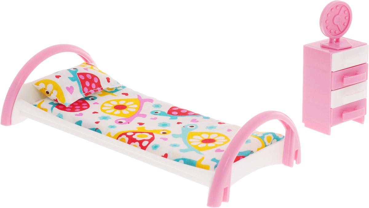 Форма Кровать с тумбочкой для кукол Черепашки цвет белый