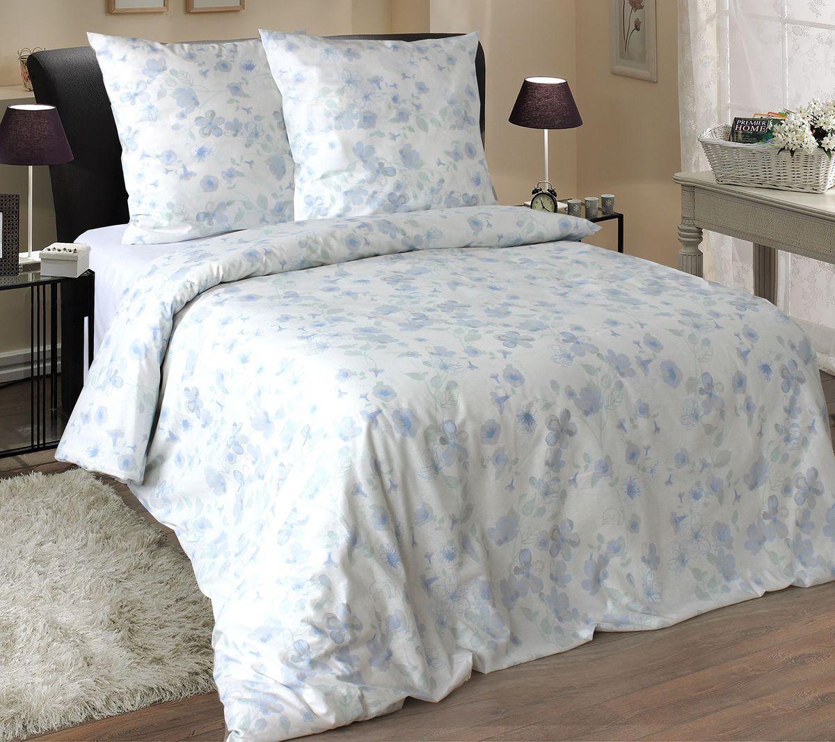 Комплект белья Коллекция Эмили, 2-спальный, цвет: белый, голубой, наволочки 50x70 см10503Комплект постельного белья включает в себя четыре предмета: простыню, пододеяльник и две наволочки, выполненные из поплина.Размер пододеяльника: 175 x 210 см.Размер простыни: 180 x 215 см.Размер наволочек: 50 x 70 см.
