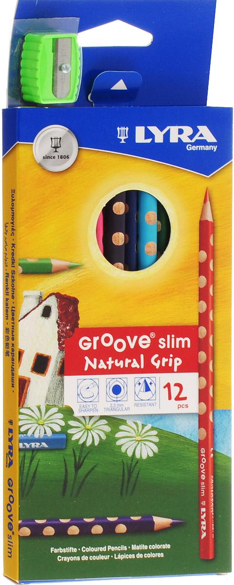 Lyra Набор цветных карандашей Groove Slim с точилкой 12 штC13S041944Цветные карандаши Lyra Groove Slim понравятся вашему юному художнику.Набор включает в себя 12 ярких насыщенных цветных карандашей треугольной формы с эргономичным захватом. Карандаши идеальны для раннего развития ребенка. Карандаши изготовлены из натурального сертифицированного дерева, экологически чистые. Имеют ударопрочный неломающийся грифель, не требующий сильного нажатия, легко затачиваются.