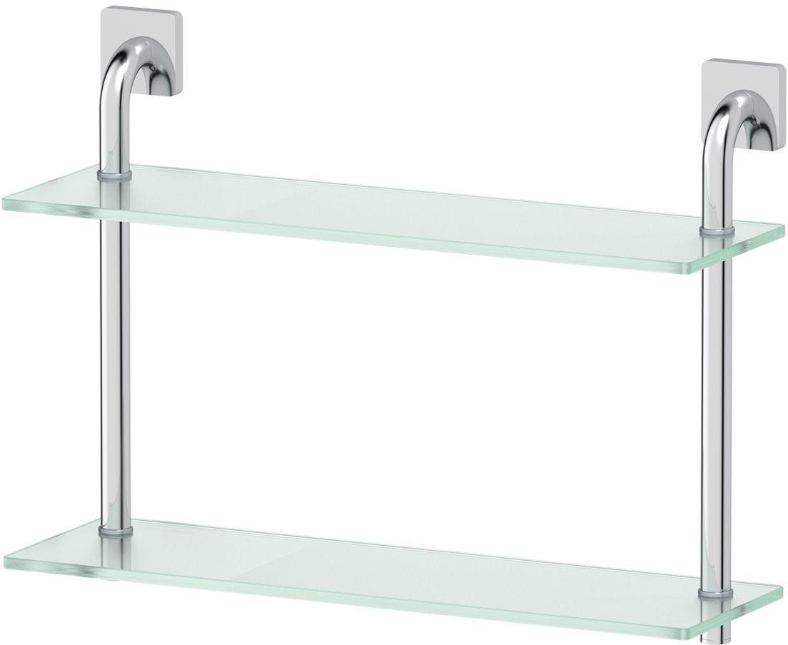 Полка для ванной Ellux  Avantgarde , 2-х ярусная, 50 см, цвет: матовое стекло, хром. AVA 036 - Полки и стеллажи