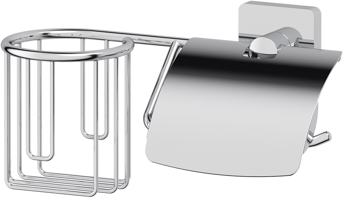 Держатель освежителя и туалетной бумаги Ellux  Avantgarde , с крышкой, цвет: хром. AVA 068 - Аксессуары для туалетной комнаты