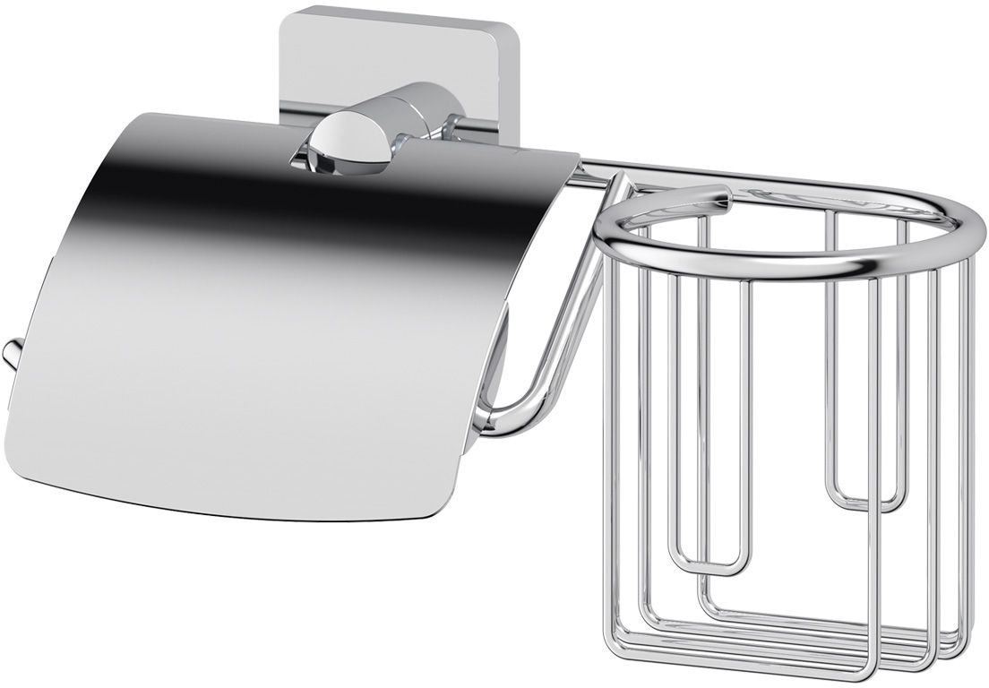 Держатель туалетной бумаги и освежителя Ellux  Avantgarde , с крышкой, цвет: хром. AVA 069 - Аксессуары для туалетной комнаты