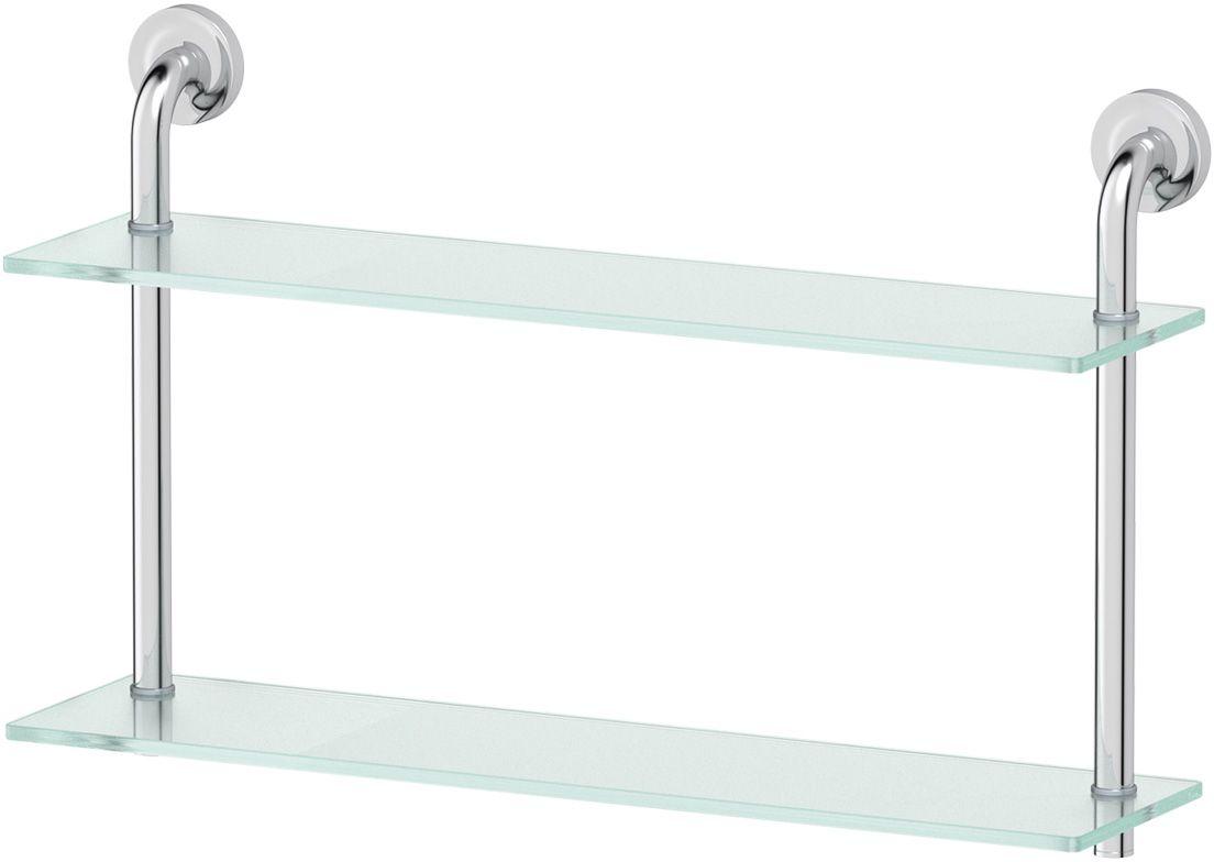 Полка для ванной Ellux Elegance, 2-х ярусная, 60 см, цвет: матовое стекло, хром. ELE 037RYN 009Аксессуары торговой марки Ellux производятся на заводе ELLUX Gluck s.r.o., имеющем 20-летний опыт работы. Предприятие расположено в Злинском крае, исторически знаменитом своим промышленным потенциалом. Компоненты из всемирно известного богемского хрусталя выгодно дополняют серии аксессуаров. Широкий ассортимент, разнообразие форм, высочайшее качество исполнения и техническое?совершенство продукции отвечают самым высоким требованиям. Продукция завода Ellux представлена на российском рынке уже более 10 лет и за это время успела завоевать заслуженную популярность у покупателей, отдающих предпочтение дорогой и качественной продукции.100% made in Czech Republic Весь цикл производства изделий осуществляется на территории Чешской республики.В производстве полок используется высококачественное матированное стекло марки Satinovo Mate Clear.Saint-Gobain Glass признанный мировой лидер в производстве высококачественного стекла, поэтому для производства стеклянных полок применяется матовое стекло «Satinovo Mate Clear» 8 мм именно этого производителя.Стеклянные полки производятся из высококачественного матового стекла 8 мм «Satinovo Mate Clear» завода Saint-Gobain Glass Deutschland GMBH. Остальные стеклянные компоненты изготовлены из богемского хрусталя фабрики Crystal Bohemia, a.s.Варианты комплектации. Покупателям предоставляется возможность выбирать хрустальные компоненты (стакан, мыльница, дозатор жидкого мыла) в матовом и прозрачном исполнении. Обратите внимание, что хрустальные колбы туалетного ерша и стеклянные полки предлагаются только в матовом исполнении.Высококачественная латунь — дорогостоящий многокомпонентный медный сплав с основным легирующим элементом – цинком. Обладает высокой прочностью и коррозионной стойкостью. Считается лучшим материалом для изготовления аксессуаров, смесителей и другого сантехнического оборудования.Гарантия 15 лет. Длительный срок службы подтвержда