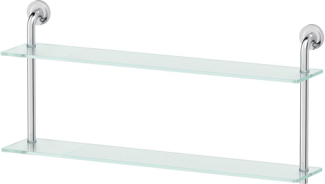 Полка для ванной Ellux Elegance, 2-х ярусная, 80 см, цвет: матовое стекло, хром. ELE 039LUX 048Аксессуары торговой марки Ellux производятся на заводе ELLUX Gluck s.r.o., имеющем 20-летний опыт работы. Предприятие расположено в Злинском крае, исторически знаменитом своим промышленным потенциалом. Компоненты из всемирно известного богемского хрусталя выгодно дополняют серии аксессуаров. Широкий ассортимент, разнообразие форм, высочайшее качество исполнения и техническое?совершенство продукции отвечают самым высоким требованиям. Продукция завода Ellux представлена на российском рынке уже более 10 лет и за это время успела завоевать заслуженную популярность у покупателей, отдающих предпочтение дорогой и качественной продукции.100% made in Czech Republic Весь цикл производства изделий осуществляется на территории Чешской республики.В производстве полок используется высококачественное матированное стекло марки Satinovo Mate Clear.Saint-Gobain Glass признанный мировой лидер в производстве высококачественного стекла, поэтому для производства стеклянных полок применяется матовое стекло «Satinovo Mate Clear» 8 мм именно этого производителя.Стеклянные полки производятся из высококачественного матового стекла 8 мм «Satinovo Mate Clear» завода Saint-Gobain Glass Deutschland GMBH. Остальные стеклянные компоненты изготовлены из богемского хрусталя фабрики Crystal Bohemia, a.s.Варианты комплектации. Покупателям предоставляется возможность выбирать хрустальные компоненты (стакан, мыльница, дозатор жидкого мыла) в матовом и прозрачном исполнении. Обратите внимание, что хрустальные колбы туалетного ерша и стеклянные полки предлагаются только в матовом исполнении.Высококачественная латунь — дорогостоящий многокомпонентный медный сплав с основным легирующим элементом – цинком. Обладает высокой прочностью и коррозионной стойкостью. Считается лучшим материалом для изготовления аксессуаров, смесителей и другого сантехнического оборудования.Гарантия 15 лет. Длительный срок службы подтвержда