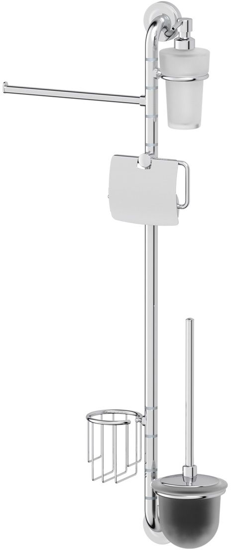 Штанга комбинированная для туалета с биде Ellux Elegance, цвет: хром. ELE 076М 5018Аксессуары торговой марки Ellux производятся на заводе ELLUX Gluck s.r.o., имеющем 20-летний опыт работы. Предприятие расположено в Злинском крае, исторически знаменитом своим промышленным потенциалом. Компоненты из всемирно известного богемского хрусталя выгодно дополняют серии аксессуаров. Широкий ассортимент, разнообразие форм, высочайшее качество исполнения и техническое?совершенство продукции отвечают самым высоким требованиям. Продукция завода Ellux представлена на российском рынке уже более 10 лет и за это время успела завоевать заслуженную популярность у покупателей, отдающих предпочтение дорогой и качественной продукции.100% made in Czech Republic Весь цикл производства изделий осуществляется на территории Чешской республики.Высококачественная латунь, используемая в производстве аксессуаров, позволяет добиваться идеального результата в готовом изделии.Варианты комплектации. Покупателям предоставляется возможность выбирать хрустальные компоненты (стакан, мыльница, дозатор жидкого мыла) в матовом и прозрачном исполнении. Обратите внимание, что хрустальные колбы туалетного ерша и стеклянные полки предлагаются только в матовом исполнении.Высококачественная латунь — дорогостоящий многокомпонентный медный сплав с основным легирующим элементом – цинком. Обладает высокой прочностью и коррозионной стойкостью. Считается лучшим материалом для изготовления аксессуаров, смесителей и другого сантехнического оборудования.Гарантия 15 лет. Длительный срок службы подтверждается 15-ти летней гарантией производителя при условии правильной эксплуатации.Проверенное временем качество продукции завода ELLUX Gluck s.r.o. позволяет производителю гарантировать длительный срок ее эксплуатации. Комбинированные штанги и стойки позволяют использовать необходимые аксессуары, сокращая количество отверстий при монтаже. Аксессуары устанавливаются в поворотные крепления, чем достигается компактность конструкции
