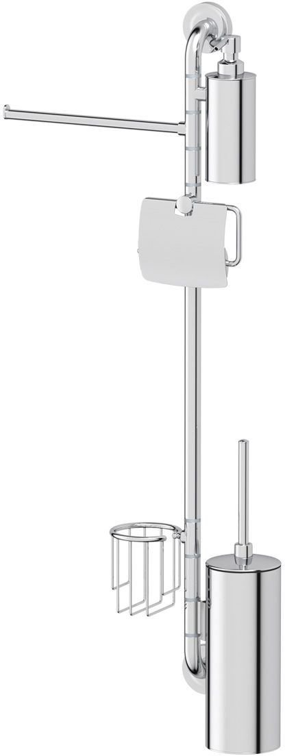 Штанга комбинированная для туалета с биде Ellux Elegance, цвет: хром. ELE 079М 5020Аксессуары торговой марки Ellux производятся на заводе ELLUX Gluck s.r.o., имеющем 20-летний опыт работы. Предприятие расположено в Злинском крае, исторически знаменитом своим промышленным потенциалом. Компоненты из всемирно известного богемского хрусталя выгодно дополняют серии аксессуаров. Широкий ассортимент, разнообразие форм, высочайшее качество исполнения и техническое?совершенство продукции отвечают самым высоким требованиям. Продукция завода Ellux представлена на российском рынке уже более 10 лет и за это время успела завоевать заслуженную популярность у покупателей, отдающих предпочтение дорогой и качественной продукции.100% made in Czech Republic Весь цикл производства изделий осуществляется на территории Чешской республики.Высококачественная латунь — дорогостоящий многокомпонентный медный сплав с основным легирующим элементом – цинком. Обладает высокой прочностью и коррозионной стойкостью. Считается лучшим материалом для изготовления аксессуаров, смесителей и другого сантехнического оборудования.Гарантия 15 лет. Длительный срок службы подтверждается 15-ти летней гарантией производителя при условии правильной эксплуатации.Проверенное временем качество продукции завода ELLUX Gluck s.r.o. позволяет производителю гарантировать длительный срок ее эксплуатации. Комбинированные штанги и стойки позволяют использовать необходимые аксессуары, сокращая количество отверстий при монтаже. Аксессуары устанавливаются в поворотные крепления, чем достигается компактность конструкции и функциональность её эксплуатации.Надежное крепление аксессуаров к стене обусловлено использованием качественных и прочных материалов крепежных элементов и хорошо продуманной конструкцией, разработанной с учетом возможных нагрузок.Премиум качество. Находясь в более доступном ценовом сегменте, аксессуары торговой марки ELLUX обладают всеми качествами продукции PREMIUMПроизведено в Чехии. Завод ELLUX Gluck s.r.o. 