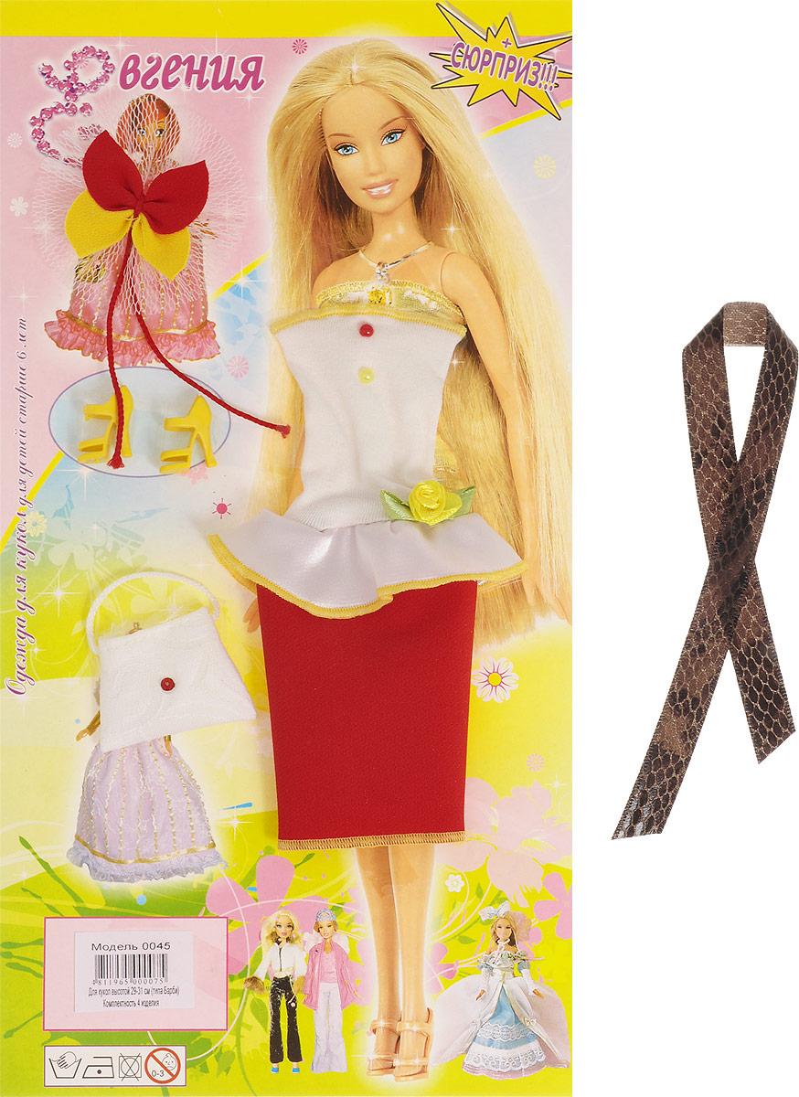 Евгения-Брест Одежда для кукол Платье цвет белый красный