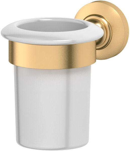 Держатель со стаканом для ванной комнаты 3SC Stilmar, цвет: матовое золото. STI 3037005Дизайн коллекций компании 3SC оригинален и узнаваем. Цель дизайнеров — находить равновесие между эстетикой и функциональностью. Это обдуманная четкая философия, которая проходит через все процессы производства мастерской региона Тоскана.Многолетний опыт, воплощение социальных и культурных традиций, а также постоянный поиск новых решений?– все это сконцентрировано в коллекциях 3SC. Особенное внимание уделяется декоративной отделке изделий, которая выполнена умелыми руками настоящих итальянских мастеров. Разнообразие стилей позволяет удовлетворить различные вкусы клиента от «классики» до «хай-тек», давая возможность гармонично сочетать аксессуары с зеркалами и освещением.
