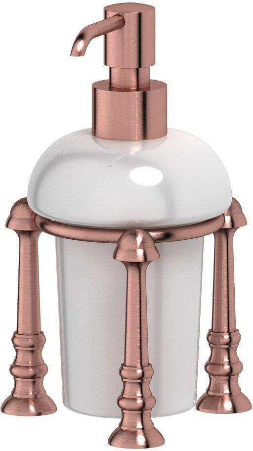 Емкость для жидкого мыла 3SC Stilmar Un, настольная, цвет: античная медь. STI 629RYN 032В течение 20 лет компания Lineag разрабатывает и производит эксклюзивные аксессуары для ванной комнаты, используя современные технологии и высококачественные материалы. Каждый продукт Lineag произведен исключительно в Италии. Изысканный дизайн аксессуаров Lineag создает уникальную атмосферу уюта и роскоши в вашей ванной.Высококачественная латунь — дорогостоящий многокомпонентный медный сплав с основным легирующим элементом – цинком. Обладает высокой прочностью и коррозионной стойкостью. Считается лучшим материалом для изготовления аксессуаров, смесителей и другого сантехнического оборудования. Сделано из латуни. Латунь, используемая в производстве аксессуаров, обладает высокой прочностью и коррозионной стойкостью, и считается лучшим материалом для изготовления аксессуаров. Гарантия 12 лет.Высокое качество продукции позволяет производителю предоставлять 12-летнюю гарантию на изделия при условии их правильной эксплуатации. Произведено в Италии.Весь технологический цикл производства осуществляется на территории Италии. Хром - очень прочный, износостойкий металл, обладающий корозийной стойкостью Предмет декорирован кристаллами, что предает изысканность и индивидуальность Дизайн и конструкция предмета продумана так, что все крепежные элементы не видны при его использовании.