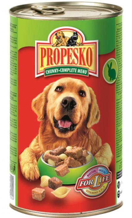 Консервы для собак Propesko, с кроликом, говядиной и пастой, 1,24 кг14261Консервы для собак Propesko имеют восхитительный вкус благодаря качеству ингредиентов и прекрасному составу. Они производятся без консервантов, обогащены витаминами и минералами, хорошо усваиваются организмом. Консервы могут использоваться в качестве добавления к сухому корму или как поощрение. Разработаны с учетом потребностей собак. Состав: мясо животных и производные (в том числе 5% кролика, 5% говядины), крупы, хлебобулочные изделия (5% макаронных изделий), овощи (5% моркови), растительные экстракты белка, минералов, производные растительного происхождения (0,2% инулина), различные сахара.Анализ: влажность 80,0%, белок 8,0%, содержание жира 5,0%, сырая зола 2,5%, сырые волокна 0,5%. Товар сертифицирован.